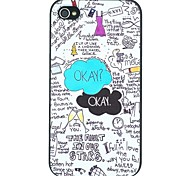 """""""OKAY"""" Word Scrawl Pattern PC Hard Back Cover Case for iPhone 4/4S"""