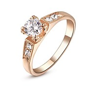 Classic 18K Roes/White Gold Plated High Quality Fashion CZ Diamond Wedding Rings