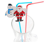 Christmas Party Snowman Santa Claus Plactis Party Straws (20/Package)