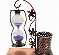 Creative Hang Wrought Iron Hourglass Pen Container Gift(Random Color)