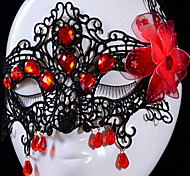 Handmade Half Face Black Lace with Red Diamond and flower Halloween Party Mask