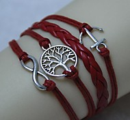 Vintage 8 characters anchor the tree of life 18cm Unisex  Leather Wrap Bracelet(1 Pc)