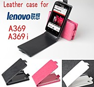 Hot Sale 100% PU Leather Flip Leather Case for Lenovo A369/A369i Up and Down Smartphone 3-color