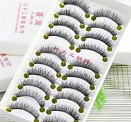 10Pcs Black Pure Manual Cotton Plastic Stalks False Eyelashs