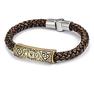 Fashion I Love You  Men's Black Or Brown Leather Leather Bracelet(Brown,Black)(1 Pc)