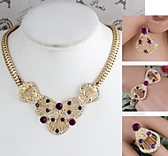 Drop&Flower-Shaped Alloy Inlay Rhinestone Sets Necklace+Bracelet+Earrings+Ring Gold (1Set)