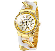 Women's Fashion Plastic Twisted Strip Golden Steel Band Quartz Wrist Watch (Assorted Colors)