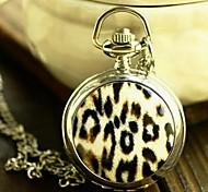 Women's Fashion Big Leopard Enamel Quartz Movement Necklace Watch
