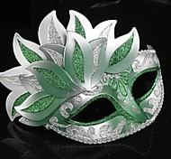 Green and Silver PS Leaves Half Face Venetian Mask