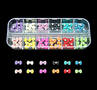 60PCS 12 Colours Cute Bowknot Resin Nail Art Decoration