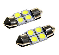 4*5050 SMD LED 31mm Car Interior Dome Festoon White Bulb Light (DC12V 2PCS)