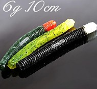 10CM 6G Fishing Soft Bait Worms with Salt Fishing Lures(5 pcs/ Assorted Color)