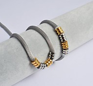 Fashion Gold-Silver Titanium Steel Charming Cylinder Snake Chain Necklace and Bracelets Sets