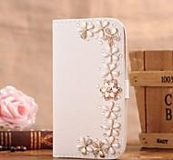 Diamant-Blumen-PU-Leder Ganzkörper-Case mit Ständer und Card Slot für iphone 5c