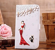 For Samsung Galaxy Case Card Holder / Rhinestone / with Stand / Flip / Pattern Case Full Body Case 3D Cartoon PU Leather Samsung S4