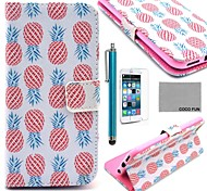 COCO FUN® Pink Pineapple Pattern PU Leather Full Body Case for iPhone 6 6G 4.7 with Screen Protecter, Stand and Stylus