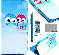 COCO FUN® Cute lovely Owl Pattern PU Leather Full Body Case with Screen Protecter, Stand and Stylus for iPhone 6 6G 4.7