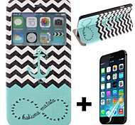 The Waves Ships Anchor Pattern PU Leather Full Body with Screen Protector Cover for iPhone 6 Plus