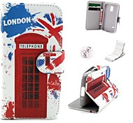 British Red Phone Booth Pattern PU Leather Case and Mini Display Stand with Diamond Dust Plug for Samsung Galaxy S5 Mini