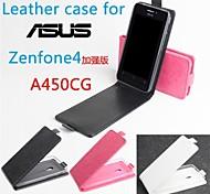 vendita calda 100% cassa di cuoio dell'unità di elaborazione del cuoio di vibrazione per zenfone4 a450cg su e giù per smartphone a 3 colori