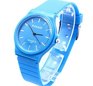 Women's Round Dial Silicone Band Quartz Wrist Watch (Assorted Colors)