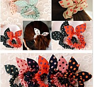 Rabbit Ears Bowknot is Super Clear Elastic and Durable Hair Bands Dot Design Hair Accessories (Color Random)