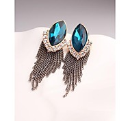 Fashion Korea Big Tassel Marquis Zirconia Stud Earrings for Women in Jewelry