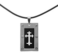 Classic Flower Cross Men's Pendant Necklace(1 Pc)