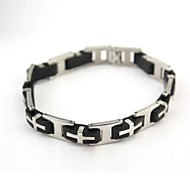 Men's Fashion Personality Silicone Titanium Steel Cross Pattern Bracelets