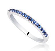 Classic Women's CZ 925 Sterling Silver Band Ring (Purple, Dark Blue) (1pc) Promise