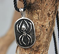 Fashion (Original designer black spider) Stainless Steel Nylon Viscose Rope Tie Pendant Necklace (Silver)(1 Pc)
