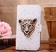 Diamant-Leopard-Kopf-PU-Leder Ganzkörper-Case mit Ständer und Card Slot für Samsung Galaxy i9600 s5
