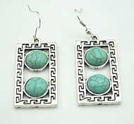 Toonykelly® Vintage Look Oblong Green Turquoise Stone Dangle Drop Earring(1 Pair)