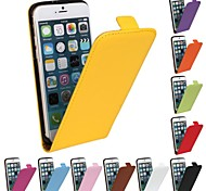 Flip-Open Solid Color Pattern Genuine Leather Full Body Case for iPhone 6 Plus
