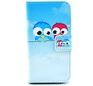 Two Dialoguing Birds Pattern on Blue PU Leather Full Body case for iPhone 4/4S