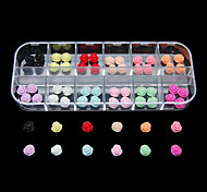 60PCS 12 Colours Roses Resin Nail Art Decoration