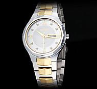 Männer schlicht elegante Zifferblatt Stahl Band Quarz-Armbanduhr (farbig sortiert)