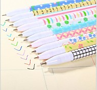 Flower Color Stripe Gel Pen Set(10 PCS)