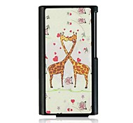 Kissing Two Giraffe Leather Vein Pattern Hard Case for iPod Nano7
