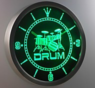 nc0406 Band Room Drum Rock N Roll Music Neon Sign LED Wall Clock