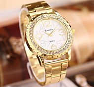 Women's  Fashion Marble Mirror Rhinestones Steel Belt Watch