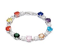 Fashion Silver Plated Copper Zircon Bracelets