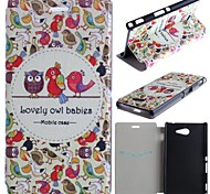 Lovely Owl Babies Pattern PU Leather Full Body Case with Card for Sony Xperia M2 S50h