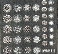 3D False Nail Art Stickers Decals Nail Accessory Christmas Silver Snowflake for Nail Tips DIY Nail Art Decorations
