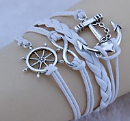 Vintage Anchor rudder eight characters 18cm Unisex  Leather Wrap Bracelet(1 Pc)