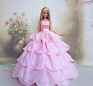 Barbie Doll Romantic Pink Princess Wedding Dress