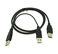 New USB 2.0 A Male to USB A Male Splitter Y cable Data with USB Extral Power for Mobile Hard Disk Drive HDD