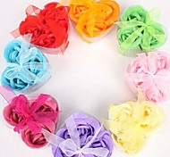 Holiday Gifts 3 Romantic Heart-shaped Rose Soap Flowers(Random Color)