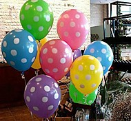 Colorful Balloon With White Dot - Set of 10 (More Colors)