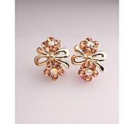 Fashion Korea Cute Bowknot Flower Imitation Diamond Clip Earrings for Women in Jewelry